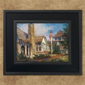 """Picture of """"Worman House & Flag""""       9""""x12"""""""